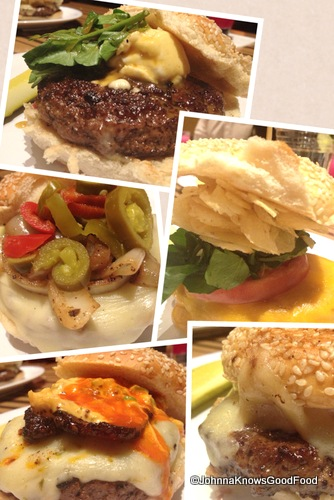 Clockwise: The Napa, The L.A., The Miami, The New Orleans (Burger of the Month) and The Philly.
