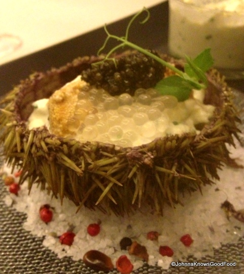 California Sea Urchin with Sturgeon Caviar & Lime Pearls at The Grill Room at Capella Georgetown.
