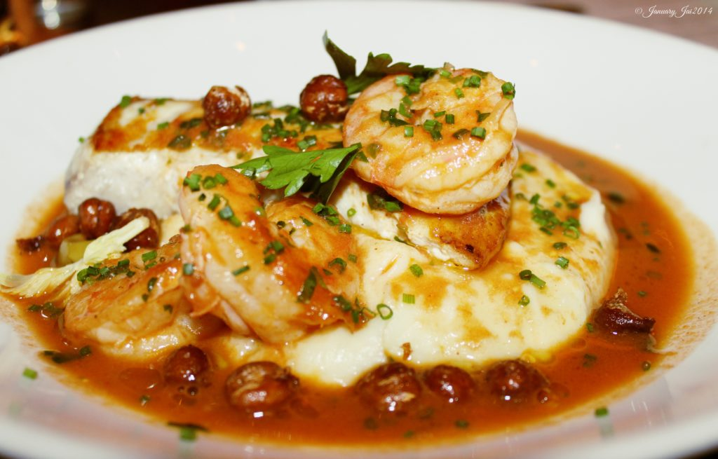 Laden in a tomato-shellfish broth, the sautéed swordfish dish produces wonderful flavors and varied textures with ingredients such as crispy chickpeas