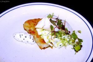 Olive Oil Poached Cod w Caviar Creme Fraiche
