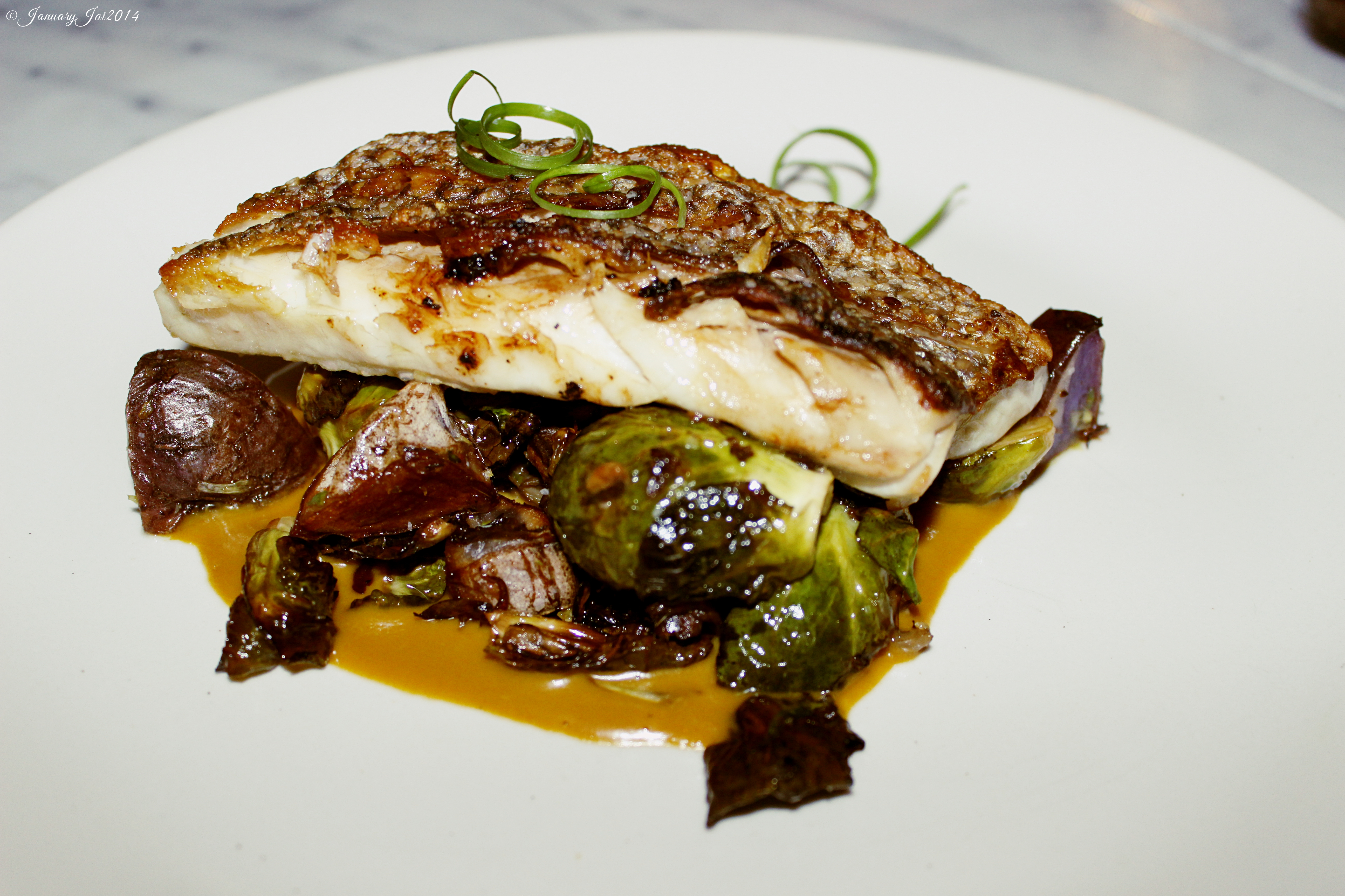 Striped Bass & Brussels Sprouts