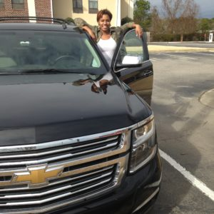 Johnna with the 2015 GM Tahoe