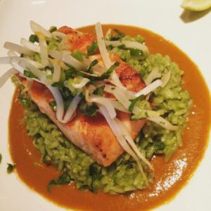 Masa 14 Grilled Salmon, Cilantro-Mint Rice and Red Thai Curry-Coconut Sauce