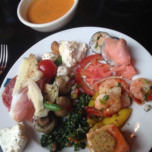 My Assorted Plate from the Salad Bar plus lobster bisque (I would not suggest this, little to no flavor.)