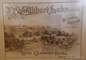 One of the original advertisements of Osthoff Lake Resort at Elkhart Lake, WI.
