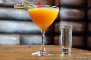 There's a Log Cabin in City Center.  And it has a happy hour.
